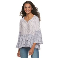 Juniors' Mudd Printed Lace-Up Peasant Top