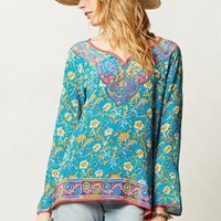 Anvie Peasant Blouse by Tolani Turquoise
