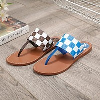 LV presbyopia letters women's casual all-match flip-flop sandals slippers shoes