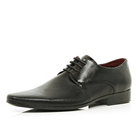 River Island MensBlack perforated panel pointed formal shoes