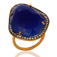 22K Gold Vermeil Over Sterling Silver Blue Aventurine Hammered Band Ring With CZ