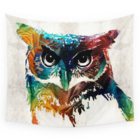Society6 Colorful Owl Art Wise Guy By Sharon Cumm Wall Tapestry