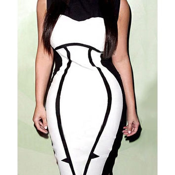 Club Style Dress with Color Blocks Black and White