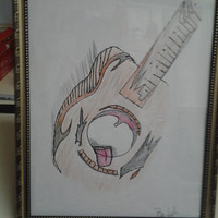"Orginal Drawing Gold Glass Frame 8x10 Guitar Picture. "" Big Mouth"""