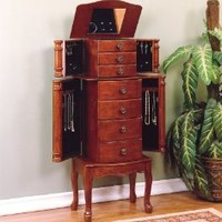 Classic Cherry Brown Jewelry Armoire