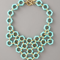 Milly Blue Hexagonlink Bib Necklace