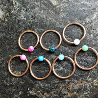 18g (1mm) Opal Stone ROSEGOLD Plated CBR (BCR) Captive Bead Ring Earring Cartilage Piercing Jewelry