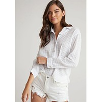 Relaxed Button Down White Check