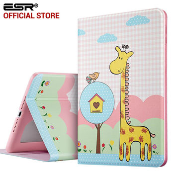 ESR PU Leather Folio Case Stand with Fashion Cute Cartoon Pattern and Smart Cover for iPad 6/Air 2