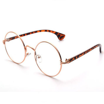 Retro Metal Frame Clear Lens Round Circle Eye Glasses +Free Gift  Necklace