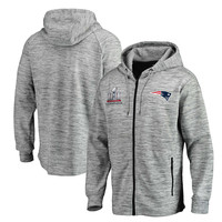 Men's New England Patriots Pro Line by Fanatics Branded Heathered Gray Super Bowl LI Champions Left Tackle Space Dye Full-Zip Hoodie