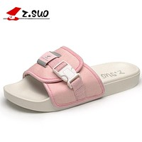 Summer Women Slippers Outdoor Breathable Fashion Canvas Beach Shoes Women Open Toe Buckle Flat Sandals Pink Black