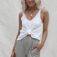Angel White Ribbed Knit Tank Top