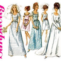 1960s Wedding Dress Pattern Bust 34 Simplicity 7685 Formal Evening Cocktail Bridal Bridesmaid Prom Fit & Flare Womens Vintage Sewing Pattern
