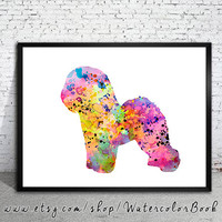 Bichon Frise Watercolor Print, Home Decor, dog watercolor, watercolor painting, Bichon Frise art, animal watercolor, Bichon Friseart