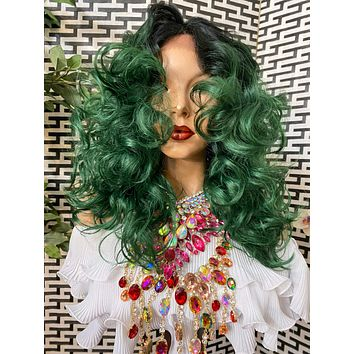 """GREENHOUSE* ombré volume curls HH blended 4x4 silk top LUXURIOUS lace front wig 12"""""""