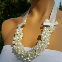 Pearl Necklace, Wedding Necklace, Bridal Jewelry with Bows, Brides Bridesmaids gifts-FREE SHIPPING