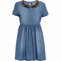 Blue Chelsea Girl check collar denim dress - day dresses - dresses - women