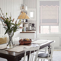 Quick Fix Washable Roman Window Shades Flat Fold with Valance, SG-005 Gray with Pink Trim