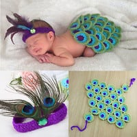 Babies New Born Knit Skirt And Feather Headband Photography 2P Pice Outfit Sets