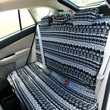 Car seat covers, Black & White Aztec \ African design, 4-pieces set for REAR adult car seats