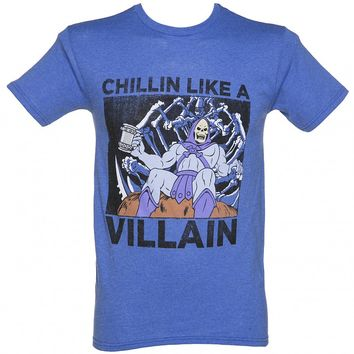 Men's Blue Marl He-Man Skeletor Chillin Like A Villain T-Shirt : TruffleShuffle.com