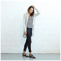 Long Knitted Cardigan- Ivory.