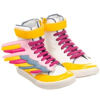 Girls Colorful High-Top 'Wing' Sneakers