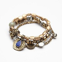 Free People Womens Metal Charm Bracelet Set - Brass One