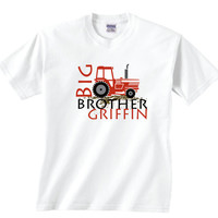 Custom Big Brother Shirt with Red Tractor, Customizable Tshirt