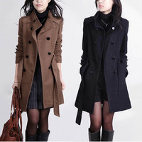 Winter Slim Double Breasted Long Trench Woolen Coat