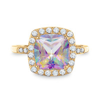 Lab-Created Mystic Fire® Topaz and White Sapphire Ring in 10K Gold with Diamond Accents
