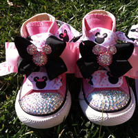 Minnie Mouse Inspired Shoes - Minnie Mouse Birthday - PRINCESS MINNIE - Swarovski Crystals - Sparkle Toes - Pink Converse - Sizes 2-13