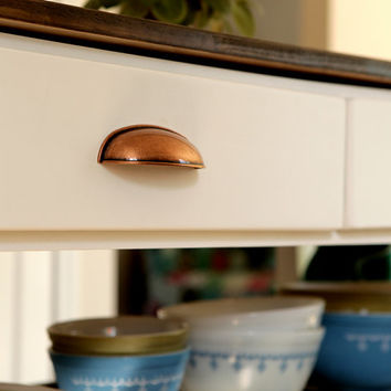 Copper Pull, Cup Pull, Cabinet Pull, Copper Kettle Pull Great for Rustic & Farmhouse Kitchens, Drawer Pulls