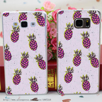 1194wu Folka Pineapple Style Transparent Hard Case Cover for Samsung  Note 2 3 4 5 for Galaxy A3 A5 A7 A8 series