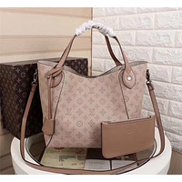 LV Louis Vuitton MONOGRAM LEATHER LARGE HINA HANDBAG SHOULDER BAG TOTE BAG