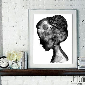 Art print from original watercolor fashion illustration. Black silhouette wall art by Jo Diquez.