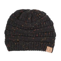 C.C. Exclusives Cable Knit Beanie in Speckled Black HAT-33-BLK