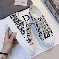 Dior women's three-dimensional embroidered letter sneakers shoes