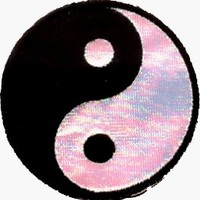 """Yin Yang - 2 1/2"""" Black & White IRIDESCENT - Embroidered Iron On or Sew On Patch"""