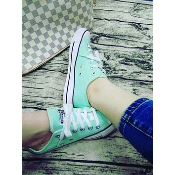 Converse Fashion Canvas Flats Sneakers Sport Shoes Low tops Mint Green