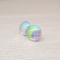 12mm Mermaid Scale Earrings on Plastic Posts for Metal Sensitive Ears, Iridescent Color Changing Rainbow