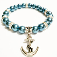 Teal Anchor Pearl Stretch Bracelet Bracelet Pool Party Nautical Jewelry / Sister Gift
