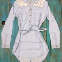 Belted Lace Jean Tunic Jean Top | Elusive Cowgirl