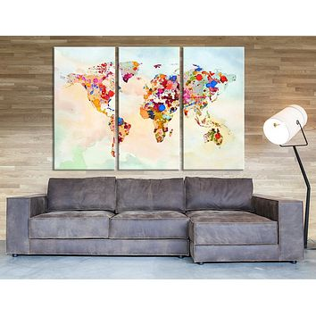 Triptych Wall Art Print Splash Watercolor World Map Print Colorful World Map Art Mixcolor