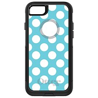 DistinctInk™ OtterBox Commuter Series Case for Apple iPhone or Samsung Galaxy - White & Blue Polka Dots