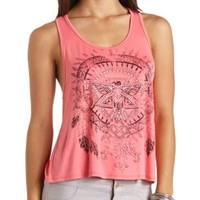 Rhinestone Thunderbird Graphic Tank Top by Charlotte Russe - Coral