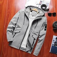 New Men's Windbreaker Trench Bomber Jacket