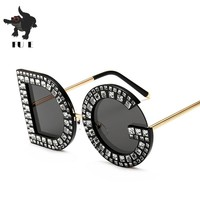 FU E 2018 Luxury Fashion New Brand Design Lady Oversized Square DG Sunglasses Women Vintage Diamond letter Frame Sun Glasses