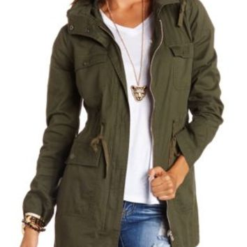 Olive Long Hooded Anorak Jacket by Charlotte Russe
